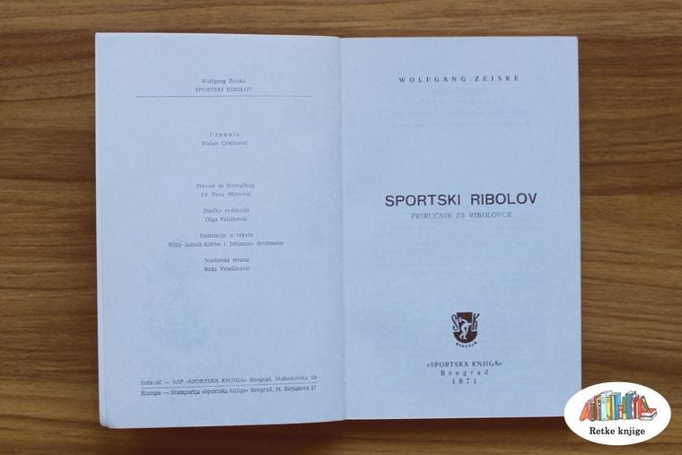 """Naslovna strana knjige """"Sportski ribolov"""""""