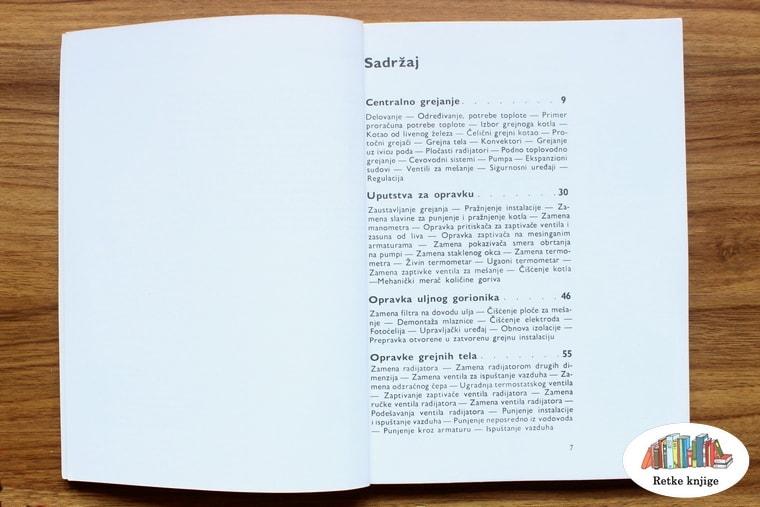 prva strana sadržaja knjige