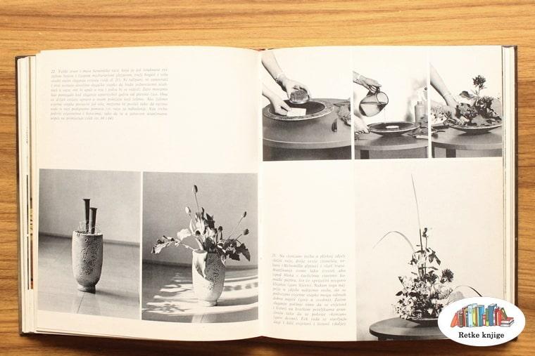 crno bele fotografije, ikebana na tanjiru